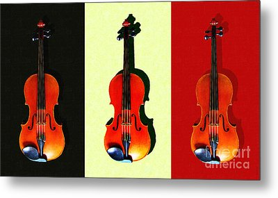 Three Violins . Painterly Metal Print by Wingsdomain Art and Photography