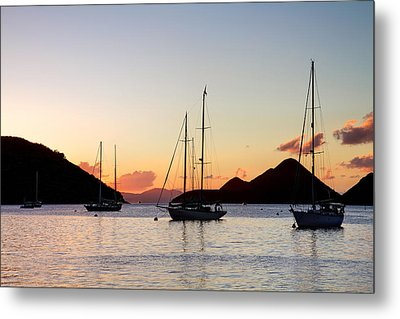 Three Yachts Silhouette Metal Print by Anya Brewley schultheiss