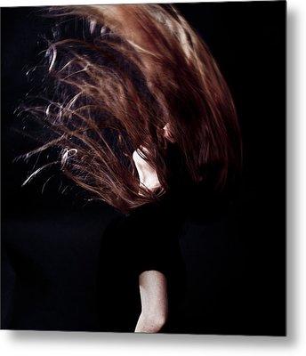 Throwing Hair Metal Print by Joana Kruse