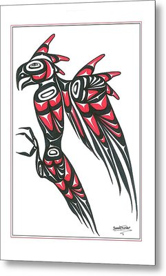 Thunder Bird Red And Black Metal Print by Speakthunder Berry