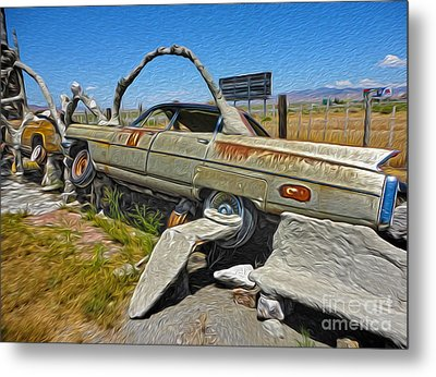 Thunder Mountain Indian Monument - Car Wrecks Metal Print by Gregory Dyer