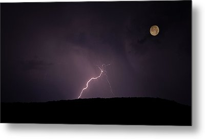 Thunderstorm, Thunderbolt, Lightning, Flash Moon Metal Print by Rainer Pfingst