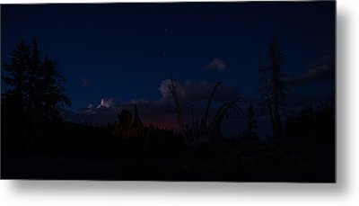 Thunderstorm With Wildfire Glowing From Minarets Vista Mammoth Lakes California Metal Print by Scott McGuire
