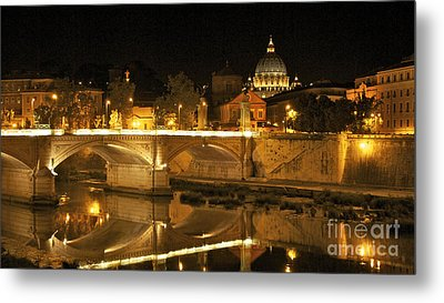 Tiber River And Ponte Vittorio Emanuele II Bridge With St. Peter's Basilica. Vatican City. Rome Metal Print by Bernard Jaubert