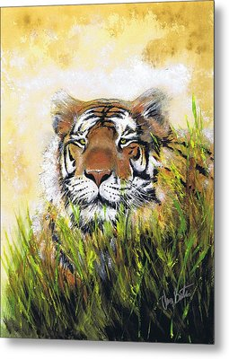 Tiger In Grass Metal Print