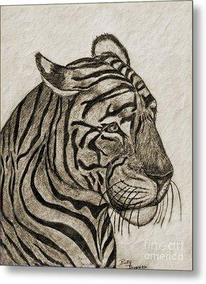 Tiger Iv Metal Print by Debbie Portwood