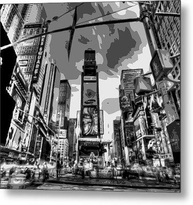 Time Square Bw6 Metal Print by Scott Kelley