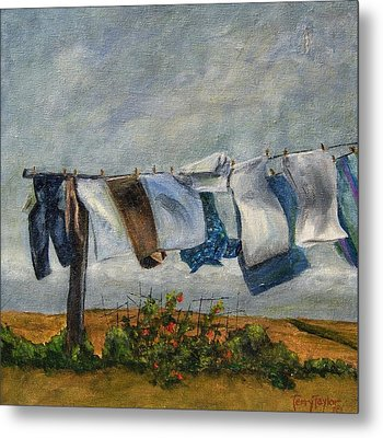 Metal Print featuring the painting Time To Take In The Laundry by Terry Taylor