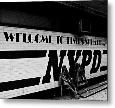Times Square Nypd Metal Print by Michael Dorn