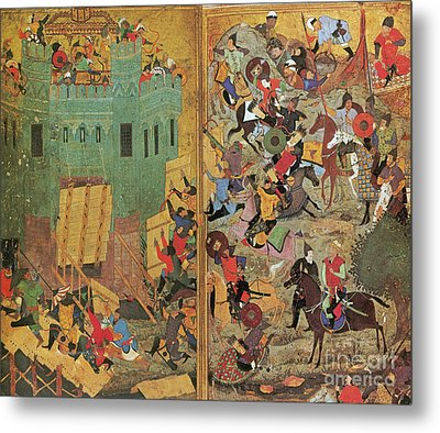 Timur And The Siege Of Smyrna 1402 Metal Print by Photo Researchers
