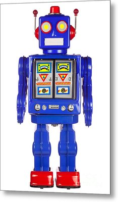 Tin Robot Arms By His Side Metal Print by Richard Thomas