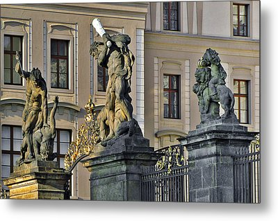Titans Battling Outside Prague Castle Metal Print by Christine Till