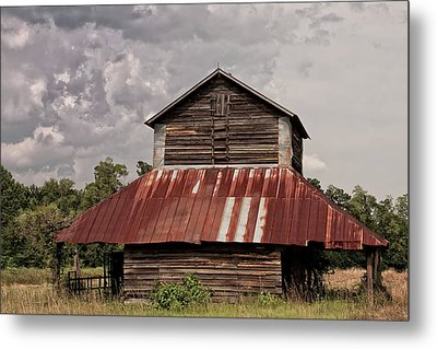 Tobacco Barn On Stormy Day Metal Print by Sandra Anderson