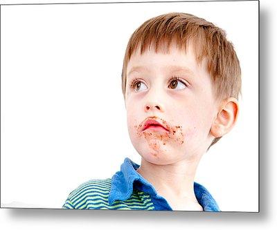 Toddler Eating Chocolate Metal Print by Tom Gowanlock