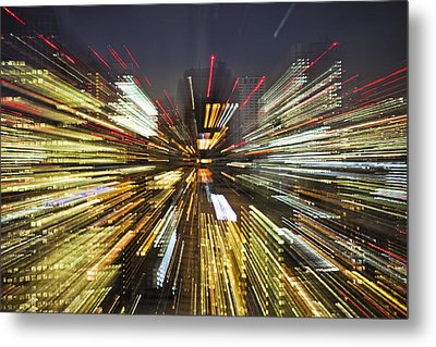 Tokyo Lights At Night A Zoom Effect Metal Print by Bryan Mullennix