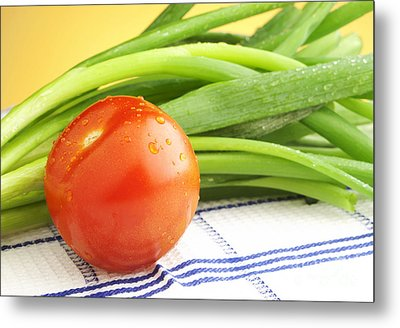 Tomato And Green Onions Metal Print