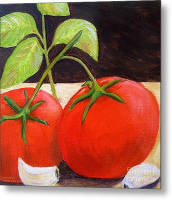 Tomato Basil And Garlic Metal Print by Pauline Ross