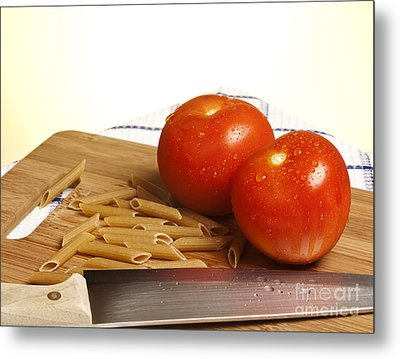 Tomatoes Pasta And Knife Metal Print by Blink Images