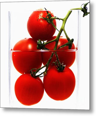 Tomatos Art Abstract Metal Print by Tanja Riedel