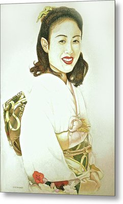 tomomi in Kimono Metal Print by Tim Ernst