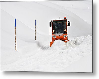 Tons Of Snow - Winter Road Clearance Metal Print by Matthias Hauser