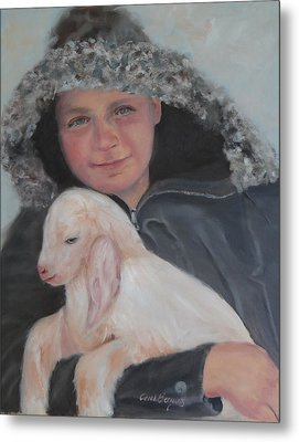 Tony With A Baby Goat Metal Print by Carol Berning