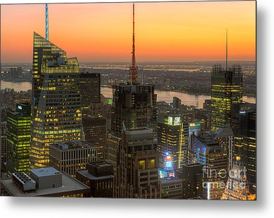 Top Of The Rock Twilight Ix Metal Print by Clarence Holmes