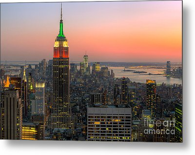 Top Of The Rock Twilight X Metal Print by Clarence Holmes