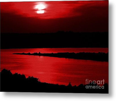 Topsail Island Blood-red Sunset Metal Print by Julie Dant