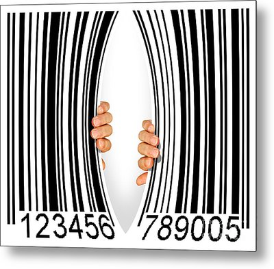 Torn Bar Code Metal Print by Carlos Caetano