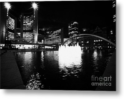 Toronto City Hall Building And Reflecting Pool In Nathan Phillips Square At Night Metal Print by Joe Fox