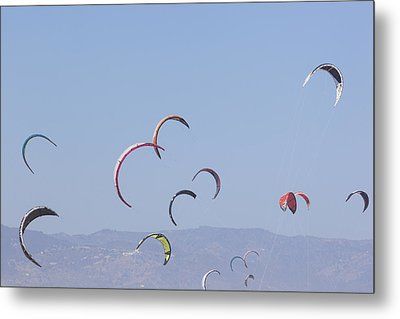 Torremolinos, Spain  Kite Surfing Metal Print by Ken Welsh