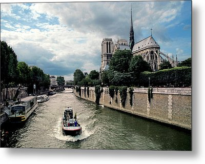 Metal Print featuring the photograph Tour Boat Passing Notre Dame by Dave Mills