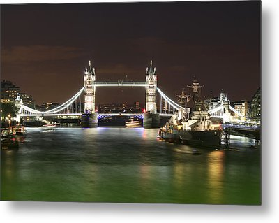 Tower Bridge And Hms Belfast At Night Metal Print by Jasna Buncic