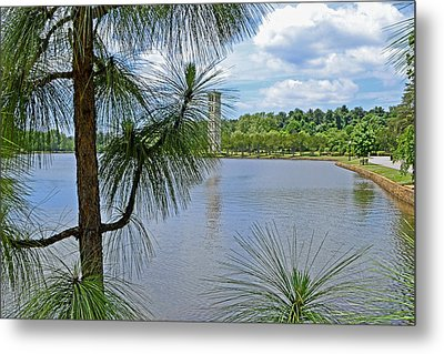 Tower Thru The Pine Metal Print by Larry Bishop