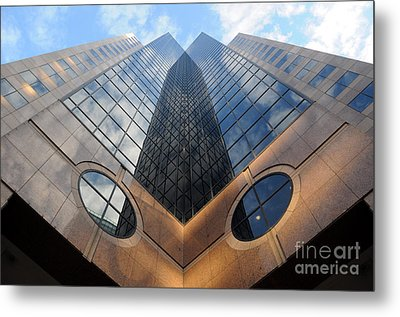 Towering Modern Skyscraper In Downtown Metal Print by Gary Whitton