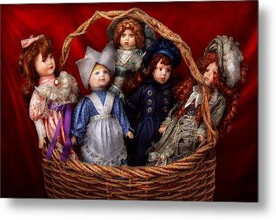 Toy - Dolls - A Basket Of Victorian Dolls  Metal Print by Mike Savad