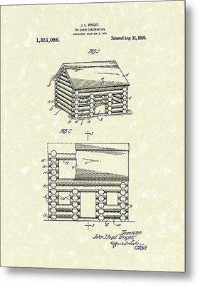 Toy Cabin 1920 Patent Art Metal Print by Prior Art Design
