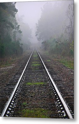 Tracks In Fog Metal Print