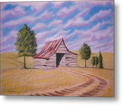 Metal Print featuring the pastel Tractor Shed by Stacy C Bottoms
