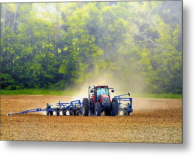 Tractor Work Metal Print by Bill Tiepelman