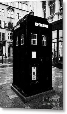 traditional blue police callbox in merchant city glasgow Scotland UK Metal Print by Joe Fox