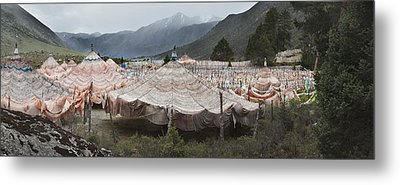 Traditional Buddhist Prayer Flags Metal Print by Phil Borges