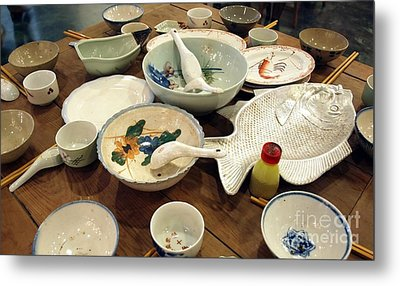 Traditional Chinese Dinner Setting Metal Print by Yali Shi