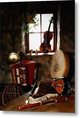 Traditional Musical Instruments, In Old Metal Print by The Irish Image Collection