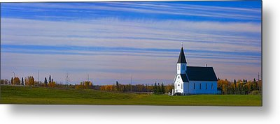 Traditional Prairie Steeple Church In Metal Print by Corey Hochachka