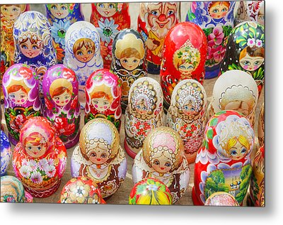 Traditional Russian Nested Dolls For Sale Metal Print by Travelif