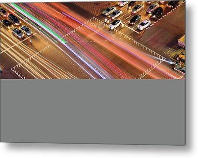 Traffic Trails Of Intersection Metal Print by SJ. Kim