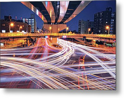 Traffic Trails Metal Print by Y2-hiro