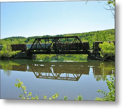 Metal Print featuring the photograph Train And Trestle by Sherman Perry